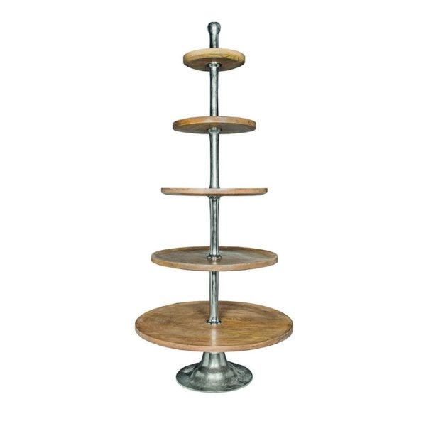 Serving Stand Wood Round 5 Tiers 150cm Aluminum / wood - LifeDeals