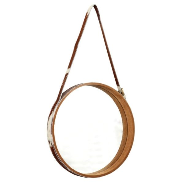 Mirror Cow Brown/white 40cm glass / leather - LifeDeals