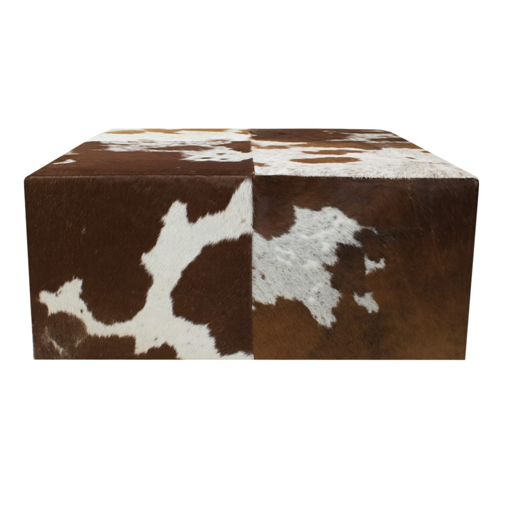 Pouffe Cow Red Brown 80x80x35cm (ex Transport) (bos Taurus Taurus) leather/wood - LifeDeals
