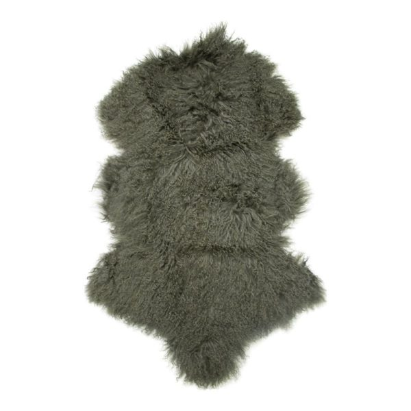 Fur Sheep Curly Hair Green 100cm 100% natural / leather - LifeDeals