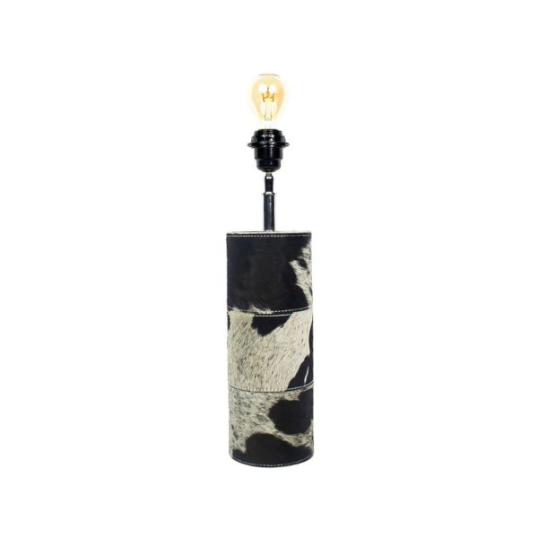 Lamp Base Round Cow Black 45cm Leather / wood - LifeDeals